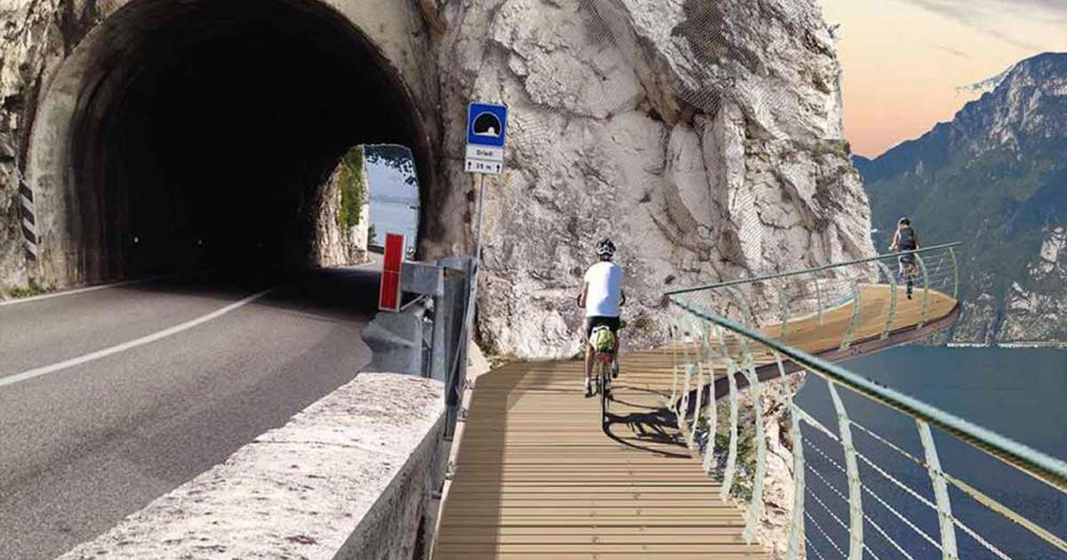 La Pista Ciclabile sospesa sul Lago di Garda sarà la Più Bella al Mondo