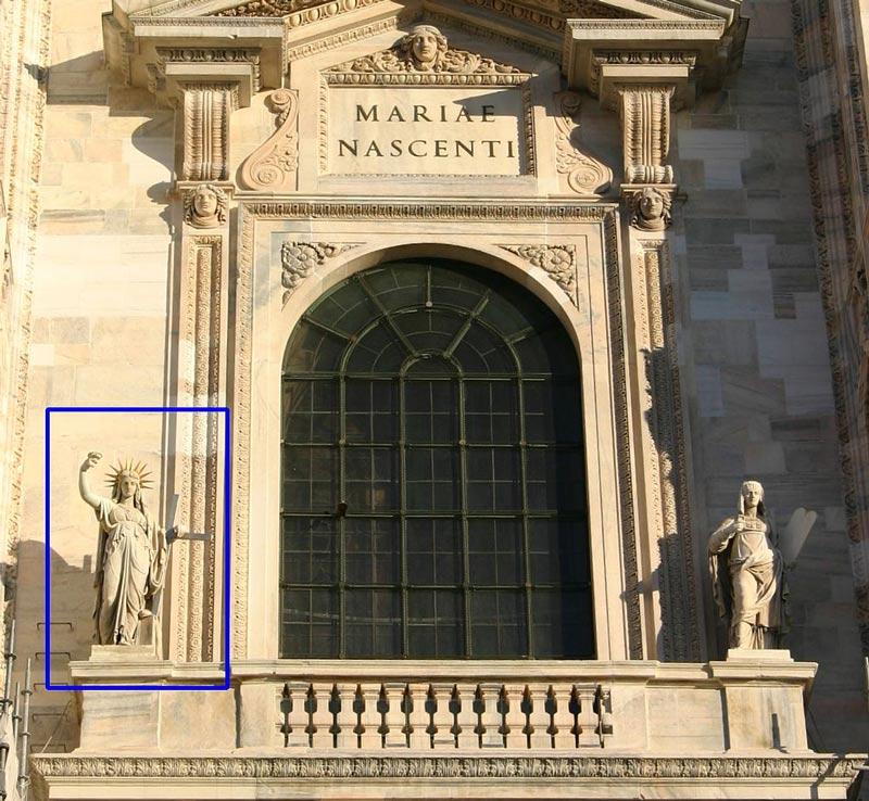 """la """"legge nuova"""" sul duomo di milano è la scultura che ispirò la statua della libertà di new york?"""