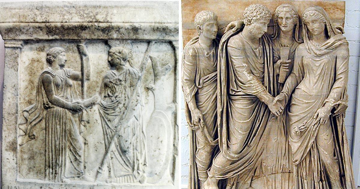 Il Matrimonio Romano Antico : La stretta di mano storia un antichissimo saluto