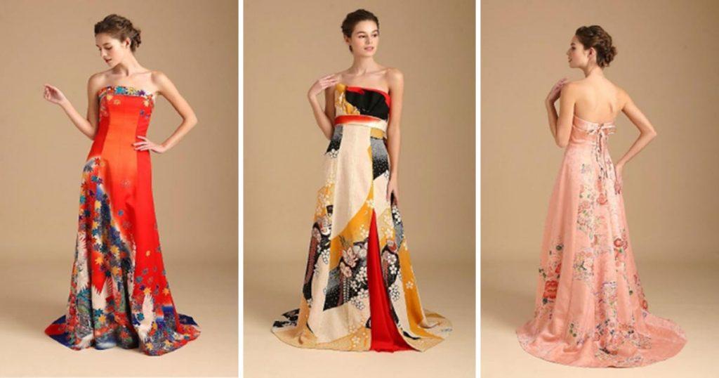 Abiti Eleganti Kimono.Antichi Kimono Giapponesi Vengono Trasformati In Moderni Abiti Da